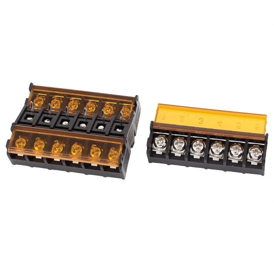 Barrier Screw Terminal Block Connector 6Pin with Safety Cover