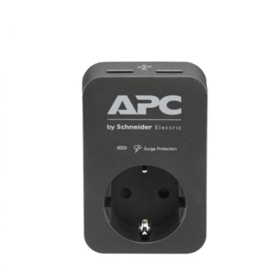 APC Essential SurgeArrest 1 Outlet 2 USB Ports Black 230V Germany PME1WU2B-GR