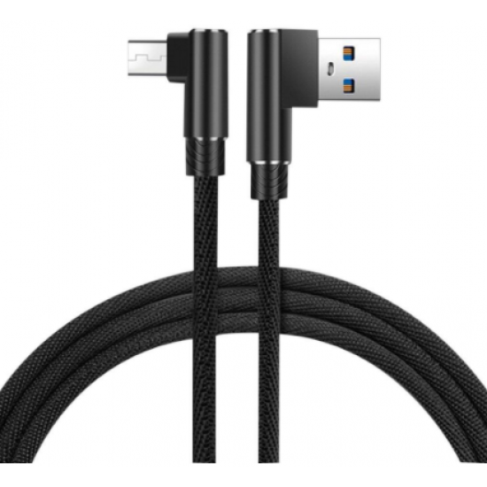 3 meter Black Data Line for Android USB 90 degree double elbow data cable mobile phone data cable charging cable USB