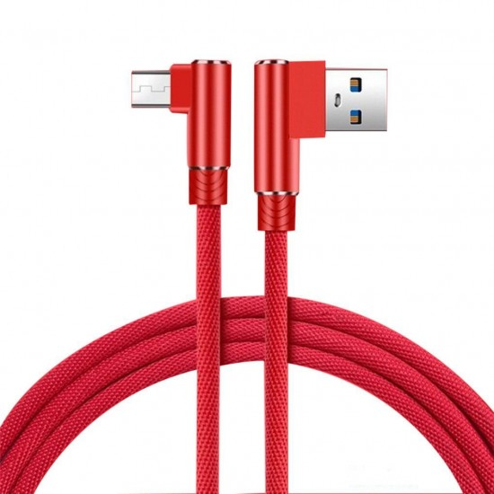 3 meter Red Data Line for Android USB 90 degree double elbow data cable mobile phone data cable charging cable USB