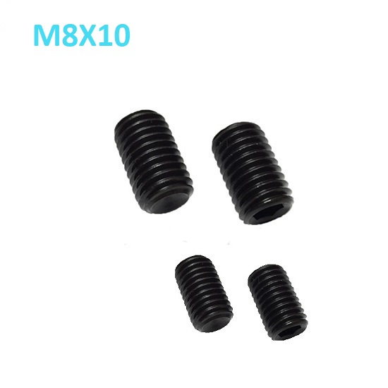 M8 x 10mm Set screw Concave End Black 12.9 grade alloy Steel