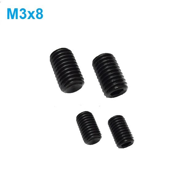 M3 x 8mm Set screw Concave End Black 12.9 grade alloy Steel