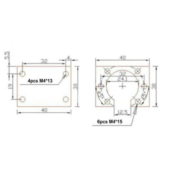 Housing Nut D12mm Aluminum for SFU 1204 Ball Screw