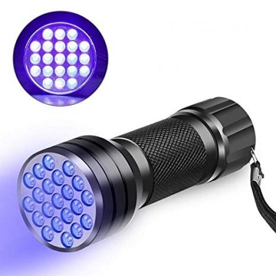 Mini Aluminum UV 21 LED Flashlight Violet Light Torch Light Lamp Flashlight