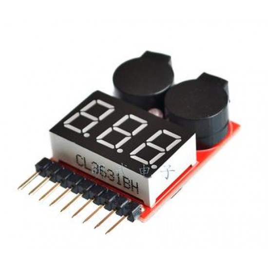Battery Level Alarm buzzer Voltage Display for Lithium Battery 1S~8S