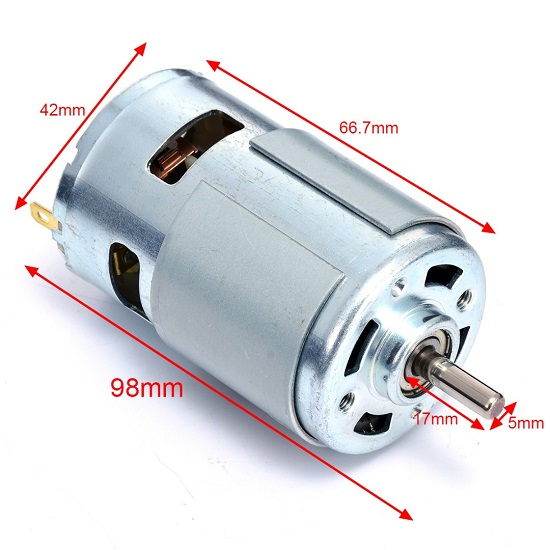 775 DC Motor 12-24V 8800rpm-20000rpm High Speed Large Torque Motor Double Ball Bearing