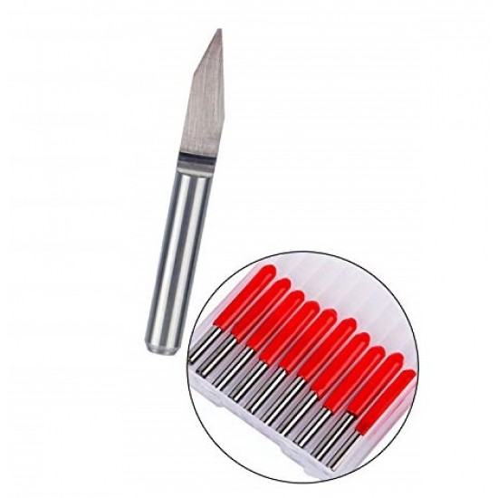 Carbide Endmill CNC Drill Bit 3.175mm x 0.8 x 20° Degree Wood PCB Engraving Router knife Tool End mill RED Cover