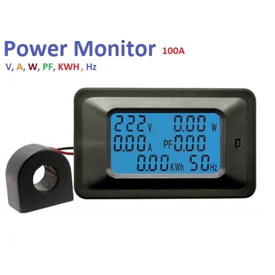 6 x1 Digital Energy Meter LCD AC 85v to 250V 100A  Multimeter Voltmeter Ammeter Power Factor Energy Current Meter  Wattmeter Tester Detector
