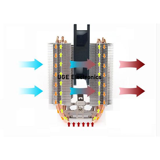 AVC 6 Copper Tube CPU Radiator Fan Heatsink Ultra Quiet for Peltier Cooler Thermoelectric Plate TEC1-12706  TEC1-12709 TEC1-12704