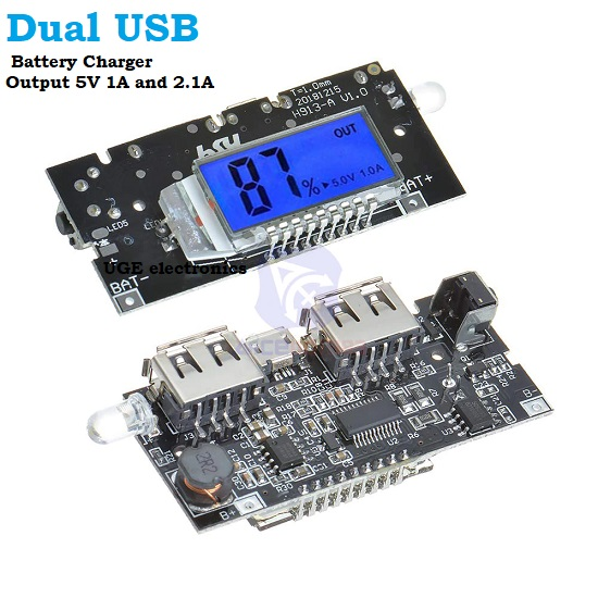 5V 2A Dual USB 18650 Battery DIY Power Bank Charger Controller Module with Display