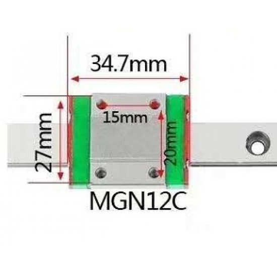MGN12C 200mm Linear Sliding Guide Rail Bearing with Slider