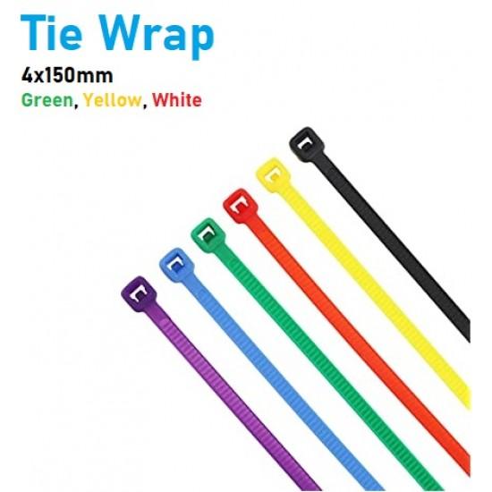 Nylon Cable Tie Wrap Multi-Purpose Zip Colored Self Locking 4x150mm (10 Pieces)