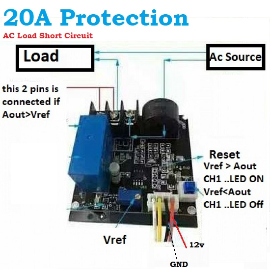 AC short Circuit Current Limit Load Protection Module Relay 0.5A-20A