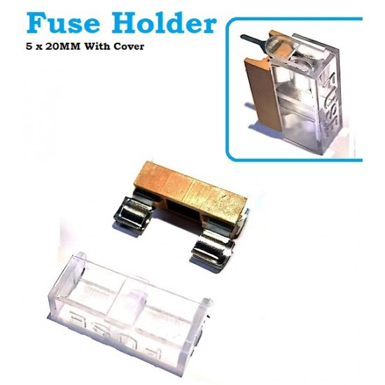 Fuse Holder 5 x 20MM Foot Distance 22MM Transparent Cover