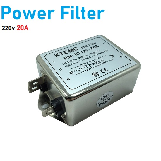 Noise Suppressor Power EMI Filter, single-phase 220V purification 20A Filter KT121-20A