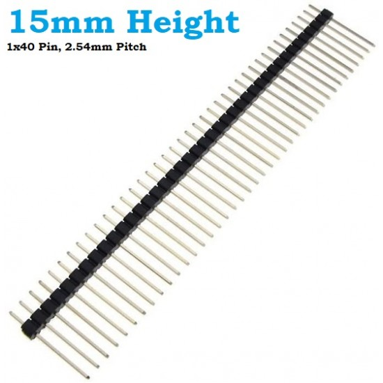 Pin Header 15mm Height Long Pin Male 1x40 Straight 2.54mm pitch