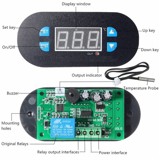 DIY Digital Thermostat Temperature Controller Adjustable Sensor Meter with Blue LED Dc12v Xd-W2308