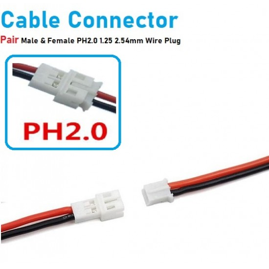 2 Pin XH Plug Male and Female Terminals Connectors Cable Wire  XH2.54 PH2.0 1.25 2.54mm Connector  Battery Charging