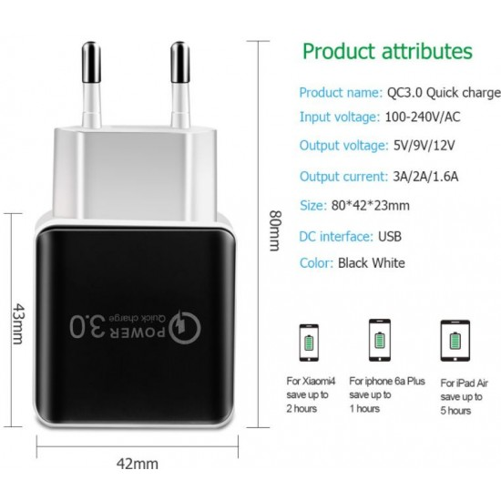 1 USB QC3.0 Fast Charge Adapter Mobile Phone Charger 5V 3A