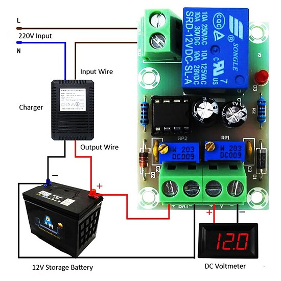 12V Battery Intelligent  Full Automatic Charging and Stop - Charging  Control Module Board XH-M601