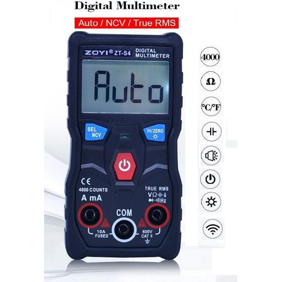 DMM True RMS Digital Multimeter 4000 counts Autoranging AVO meter AC DC 600V Voltmeter NCV Temperature ZT-S4
