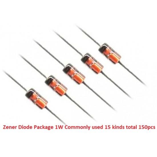 Zener Diode Package 1W Commonly used 15 kinds total 150PCS 1N4727 1N4728 1N4729 1N4730 1N4732 1N4733 1N4734 1N4742 1N4751