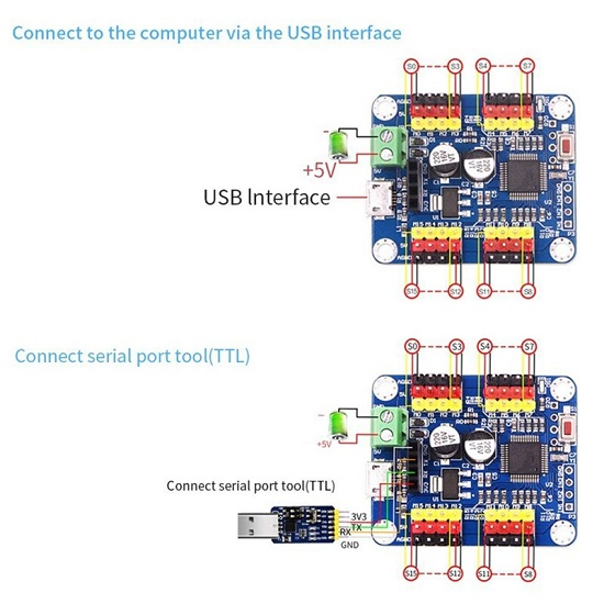 16 Channel PWM Servo Controller Board Module with USB port  for for SG90 MG995 Arduino Robot Raspberry Pi