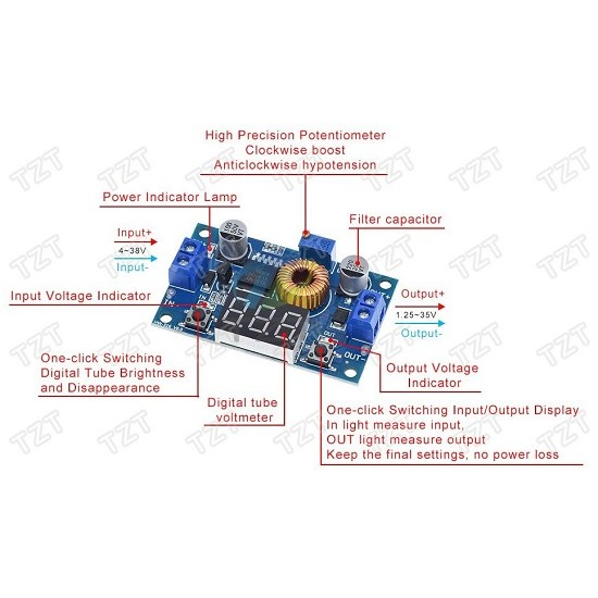 XL4015 DC-DC 5A 75W Adjustable Drop Regulated Power Supply module  low ripple 4-38V with digital display