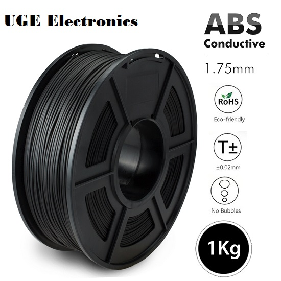 UGE Brand Filament ABS Conductive 1.75mm - Black Color Weight 1kg | Excellent Quality