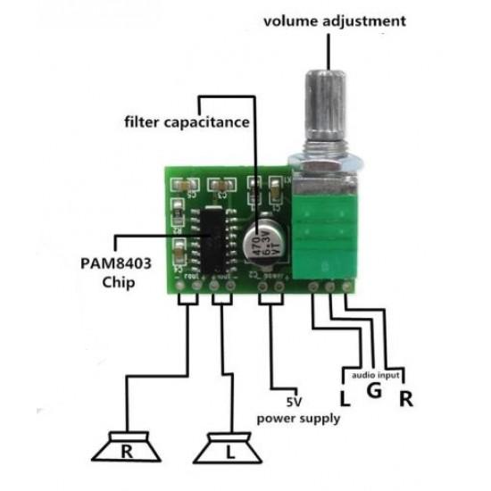 Power Audio Amplifier 2 Channel 3W  Volume Control GF1002 Module 5V Board  / USB Power PAM8403