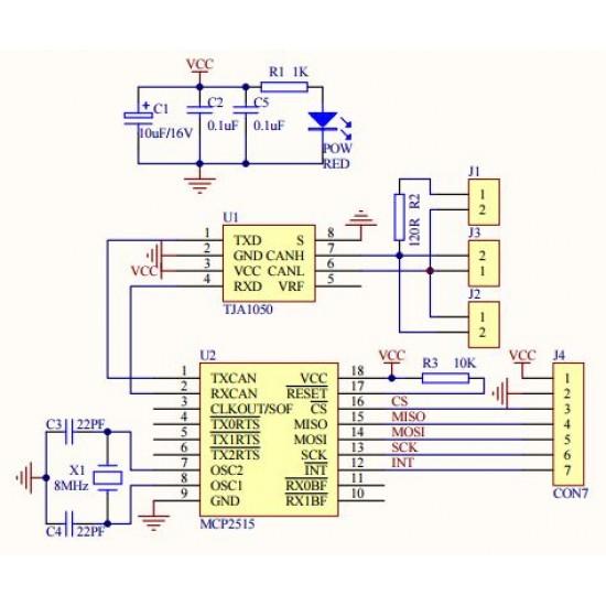 MCP2515 CAN Module TJA1050 Receiver SPI 51 Single Chip Program Routine Arduino