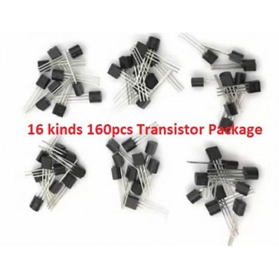 Transistor Package16 Kinds 160pcs S9012 S9013 S9014 S9015 S9018  A1015 C1815 S8550 S8050  2N3904 2N3906 2N5551 2N5401  A42 A92 A733