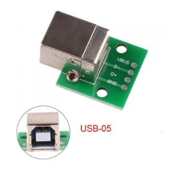 USB TYPE B FEMALE SOCKET BREAKOUT BOARD 2.54MM PITCH ADAPTER CONNECTOR DIP