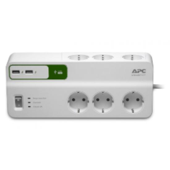 APC Essential SurgeArrest 6 outlets with 5V, 2.4A 2 port USB charger, 230V Germany PM6U-GR