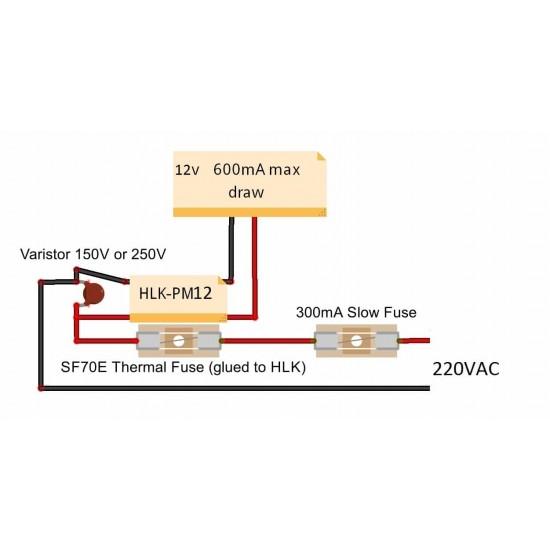 Ultra-compact power supply module HLK-PM12 100-240V / 12V 250mA