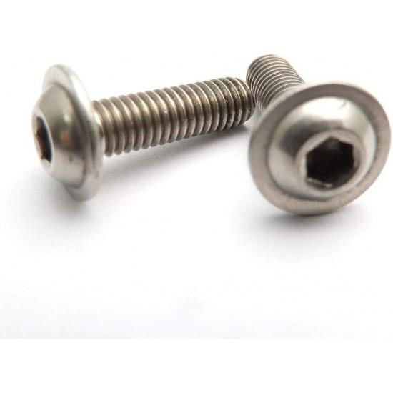 M3x10 Steel Round Button Flange Head Inner Hex Socket Allen Bolt Screws Bolts with Collar