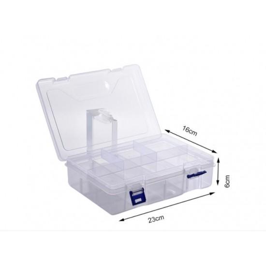 Plastic Fliptop Box 230x160x60mm – 2 Stage Compartments