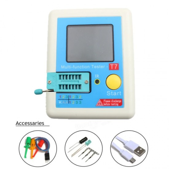 T7 New LCR Component tester ,ESR, SCR,MOSFET,Transistor, and Diode tester with Color LCD