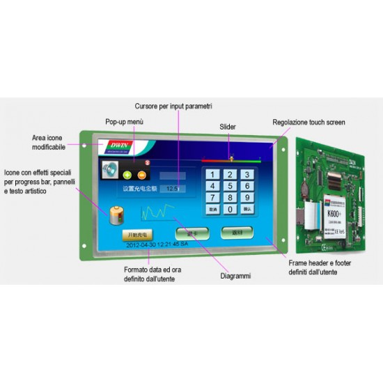 DGUS TFT LCD Module DWIN DMT48270M050_06WT 5 inch Without Frame