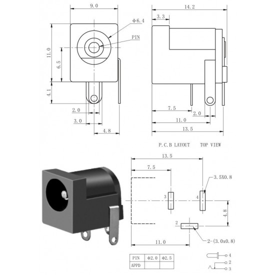 DC barrel jack PCB Mount 2.1mm