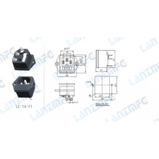 AC Power Connector with Fuse Holder