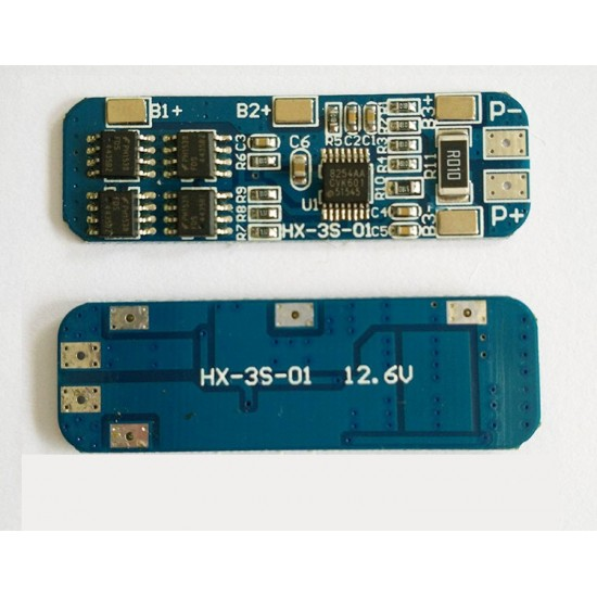 3 string 12V18650 lithium battery protection board 11.1V 12.6V anti-overcharge and over discharge peak 10A overcurrent protection