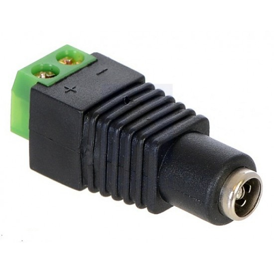 Female DC Power Adapter DC Barrel Jack Female to 2-Pin Terminal Block Adapter