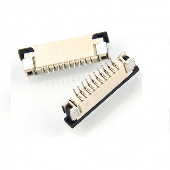 FPC Connector 10 pin 1.0mm Pitch PCB Horizontal Mount for Flat Cable