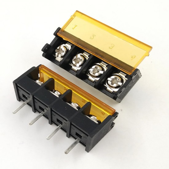 Barrier Screw Terminal Block Connector 4Pin with Safety Cover