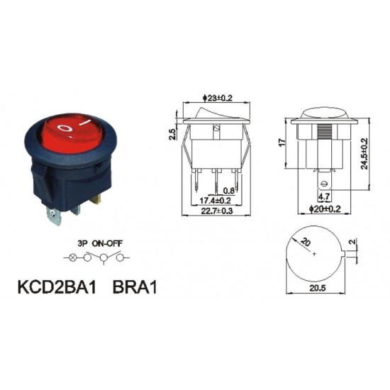 Round Rocker Switch - SPST With Internal 220v RED Lamp