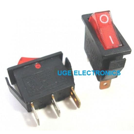 3 PIN Rocker Switch - SPST With Internal 220v RED Illuminated Lamp