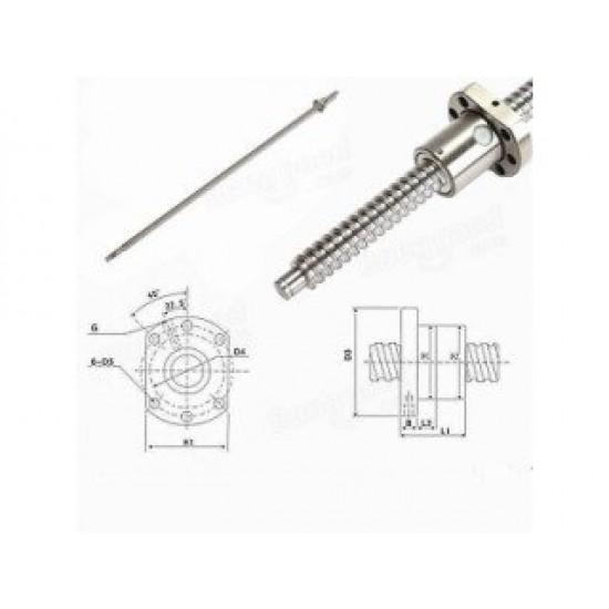 CNC 1204 Ball Screw L400 Machined End w/ SFU1204 Anti-backlash Nut